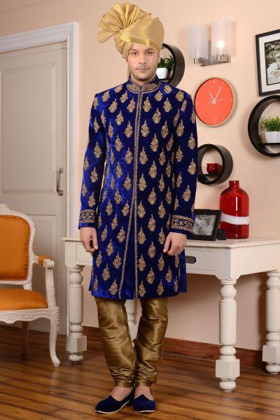 Blue Velvet Sherwani (NMK-3488)