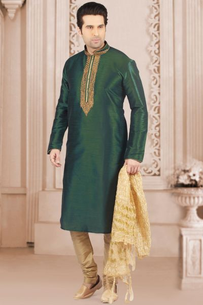 Bottle Green Art Banarasi Silk Kurta Pajama (NMK-4001)