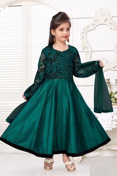 Bottle Green Art Silk Girls Salwar Kameez (NFG-219)