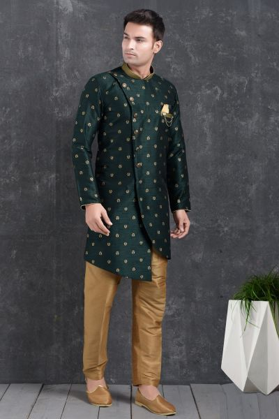 Bottle Green Jaquard Silk Brocade Mens Indo Western Kurta (NMK-5016)