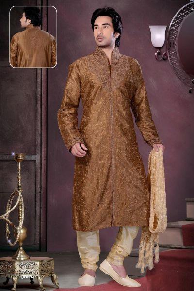 Brown Banarasi Giccha Multi Silk Kurta Pajama (NMK-1568)