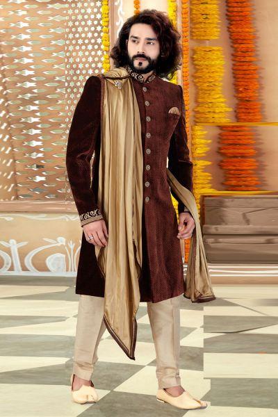 Brown Velvet Sherwani (NMK-4329)