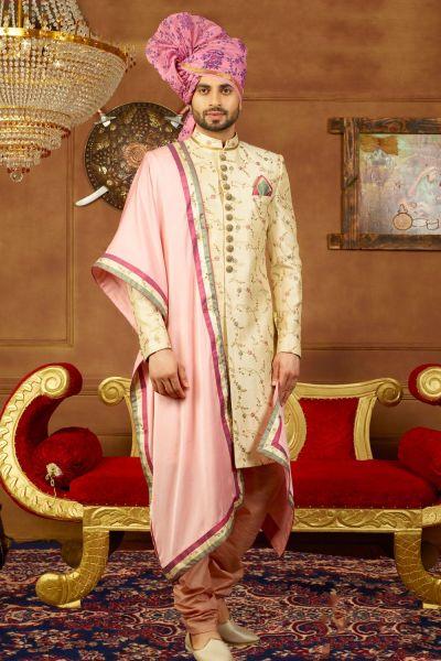 Cream Art Banarasi Silk Mens Sherwani (NMK-3905)