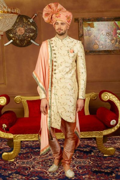 Cream Art Banarasi Silk Sherwani for Men (NMK-3907)