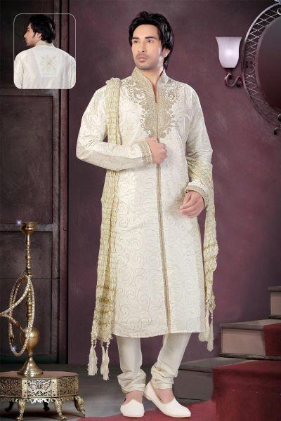 Cream Art Dupion Silk Kurta Pajama for Men (NMK-1561)