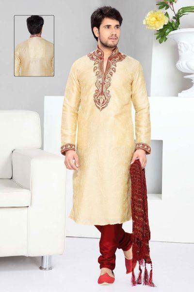Cream Art Silk Designer Kurta Pajama (NMK-2295)