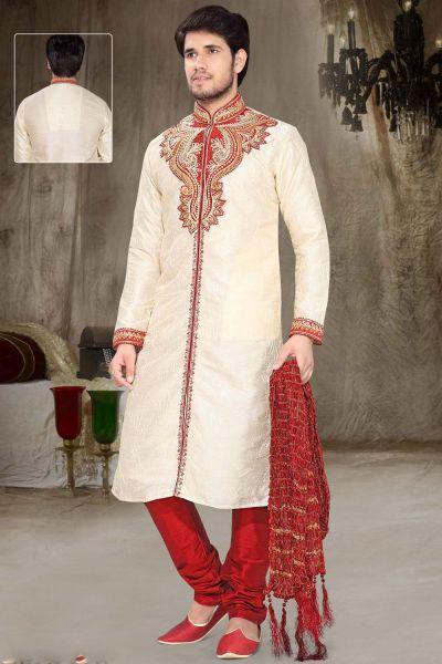 Cream Art Silk Designer Kurta Pajama (NMK-2329)