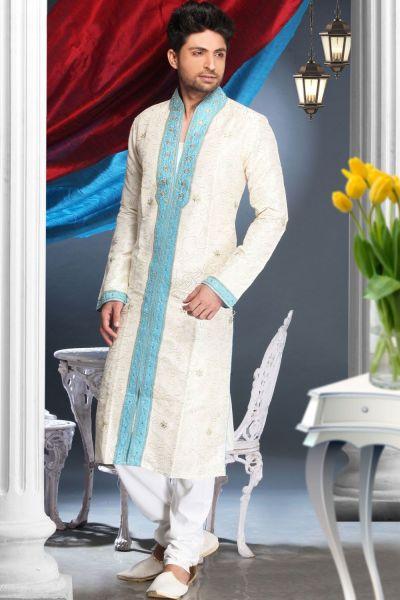 Cream Art Silk Men's Kurta Pajama (NMK-1601)