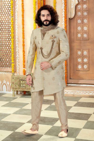 Cream Banarasi Silk Sherwani (NMK-4299)