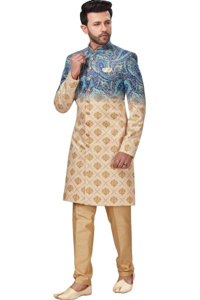 Cream, Blue 3D Imported Indo Western (NMK-4960)