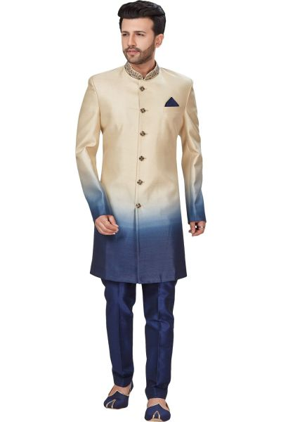Cream, Blue 3D Imported Mens Indo Western (NMK-4975)