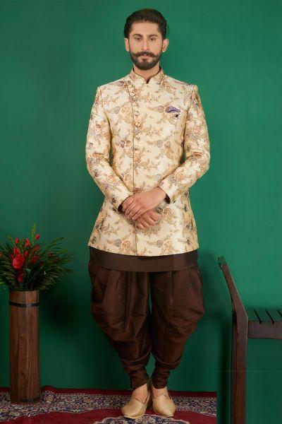 Cream, Brown Jaquard Silk Brocade 3 piece Indo Western (NMK-3876