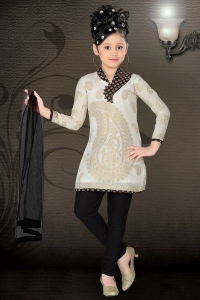 Cream Chanderi Girls Salwar Kameez (NFG-003)