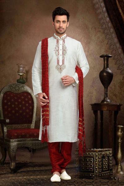 Cream Dupion Art Silk Kurta Pajama for Men (NMK-3079)