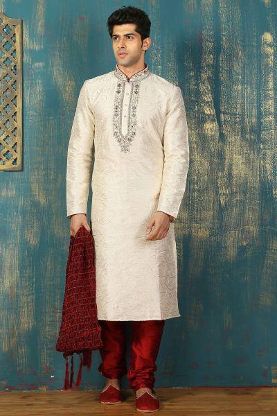 Cream Dupion Art Silk Kurta Pajama for Men (NMK-3329)