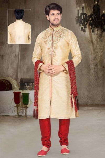 Cream Dupion Silk Designer Kurta Pajama (NMK-2338)