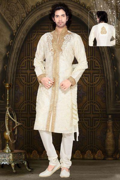 Cream Dupion Silk Designer Kurta Pajama (NMK-2341)
