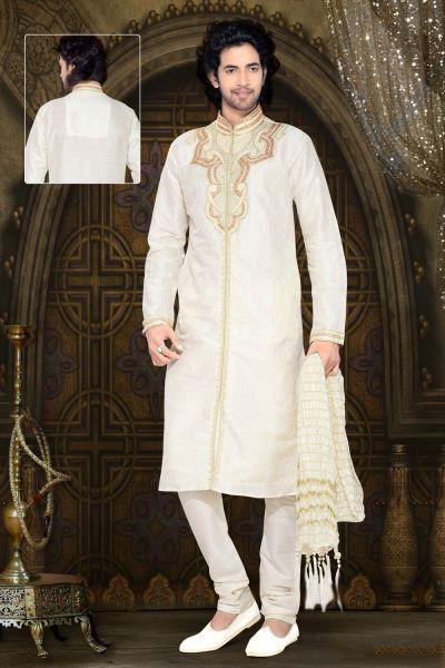 Cream Dupion Silk Designer Kurta Pajama (NMK-2345)