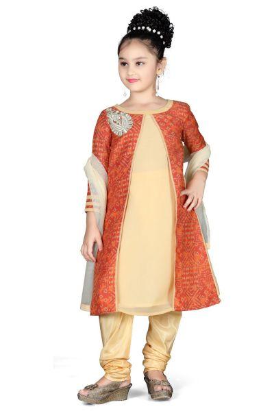 Cream Georgette Girls Salwar Kameez (NFG-095)