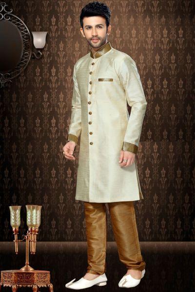 Cream Giccha Silk Indo Western Kurta (NMK-3192)