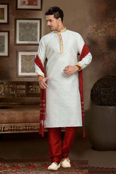 Cream Jaquard Art Silk Kurta Pajama (NMK-3115)