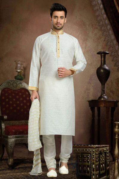 Cream Jaquard Art Silk Men's Kurta Pajama (NMK-3118)