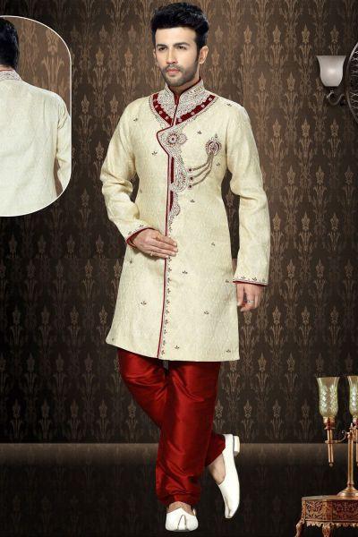 Cream Jaquard Men's Indo Western Kurta (NMK-3197)