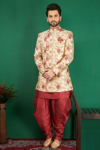 Cream Jaquard Silk Brocade 3 piece Indo Western (NMK-3875)