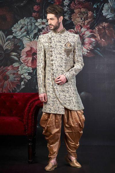 Cream Jaquard Silk Brocade Indo Western (NMK-4557)