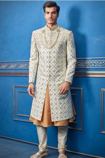 Cream Pure Silk Sherwani with Anarkali Kurta (NMK-4715)