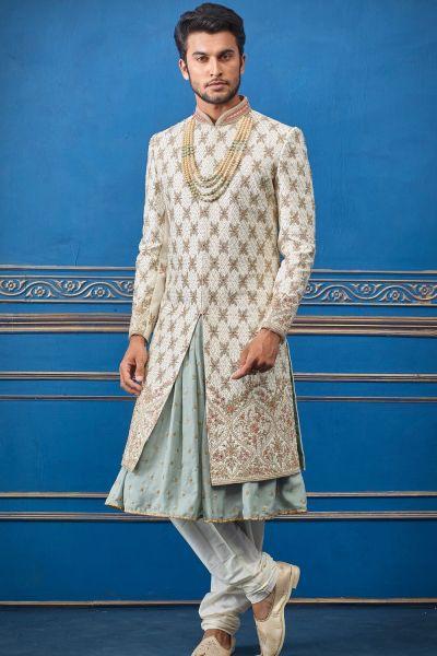 Cream Pure Silk Sherwani with Anarkali Kurta (NMK-4723)