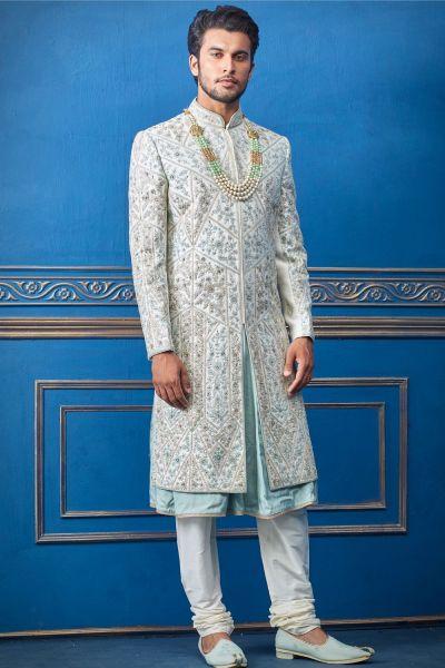 Cream Pure Silk Sherwani with Anarkali Kurta (NMK-4730)