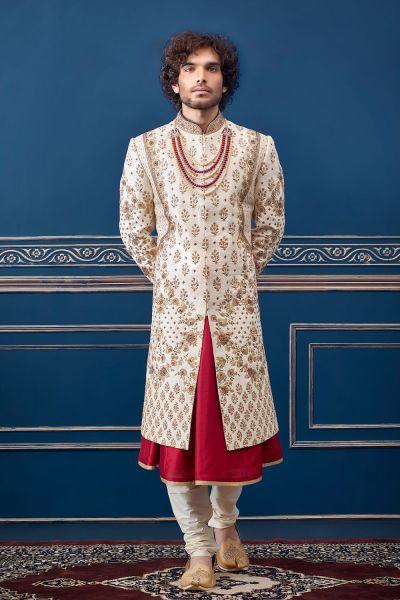 Cream Pure Silk Sherwani with Anarkali Kurta (NMK-4731)
