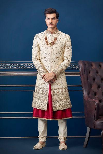 Cream Pure Silk Wedding Sherwani (NMK-4701)