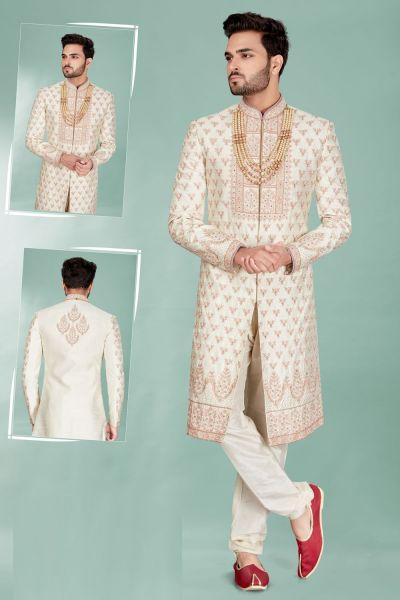 Cream Silk Mens Sherwani (NMK-5103)