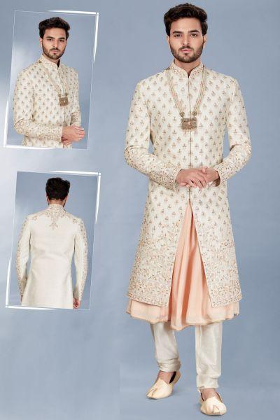 Cream Silk Mens Sherwani with Anarkali Kurta (NMK-5117)