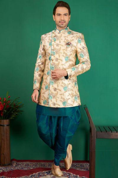 Cream, Teal Blue Jaquard Silk Brocade 3 piece Indo Western (NMK-