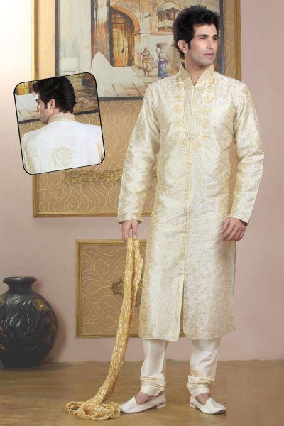 Cream Traditional Mens Kurtas (NMK-773)