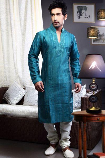 Dark Blue Art Dupion Indian Kurta Pajama (NMK-1456)