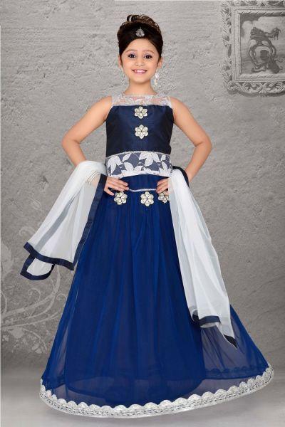 Dark Blue Art Silk, Net Brasso Kids Lehenga Choli (NFG-053)