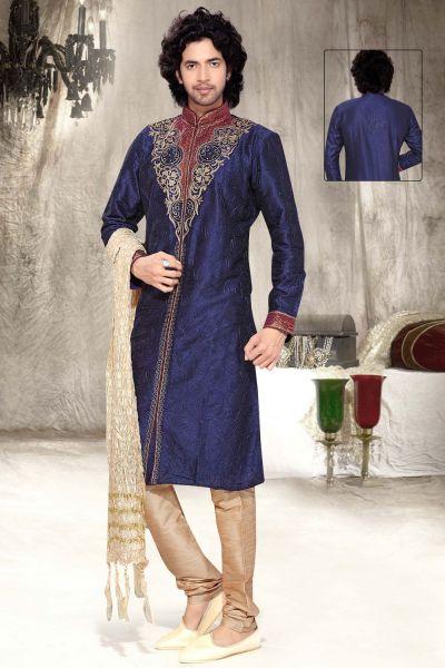 Dark Blue Dupion Silk Designer Kurta Pajama (NMK-2343)