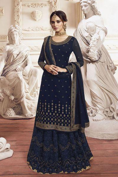 Dark Blue Georgette Salwar Kameez (NWS-5105)