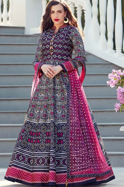Dark Blue Silk Salwar Kameez (NWS-4824)