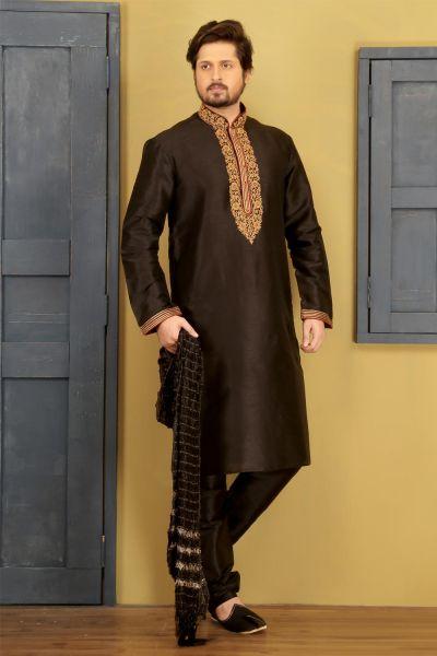 Dark Brown Dupion Art Silk Casual Kurta Pajama (NMK-3729)