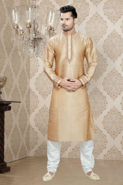 Dark Gold Art Silk Casual Kurta Pajama (NMK-2263)