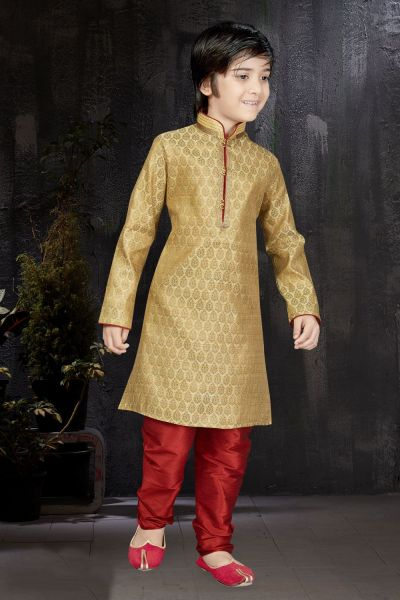 Dark Gold Banarasi Jaquard Kids Kurta (NKK-569)