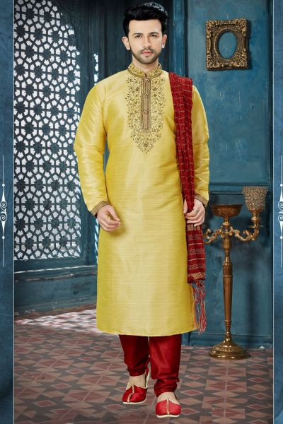 Dark Gold Banglori Silk Designer Kurta Pajama (NMK-3828)