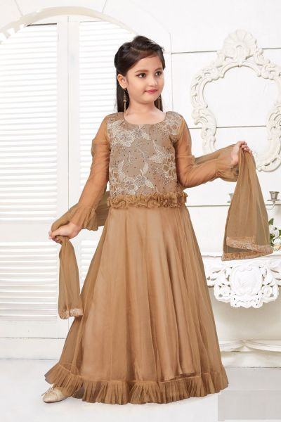 Dark Gold Net Girls Salwar Kameez (NFG-226)