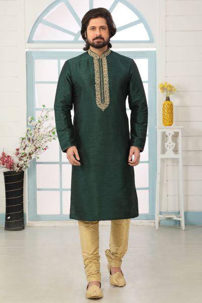 Dark Green Art Banarasi Silk Kurta Pajama (NMK-5058)