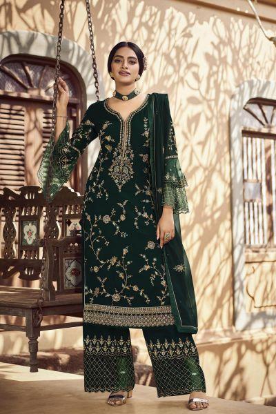 Dark Green Georgette Salwar Kameez (NWS-6006)
